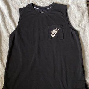 Nike black tank top reflective workout top •M•
